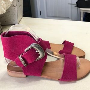 Free People Fuchsia Suede Sandals 36